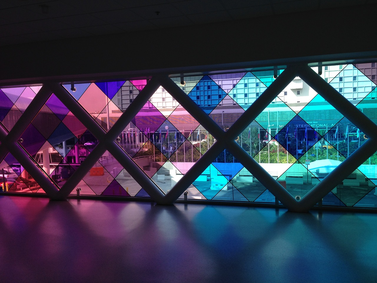 Photo of the stained glass at the Miami International Airport