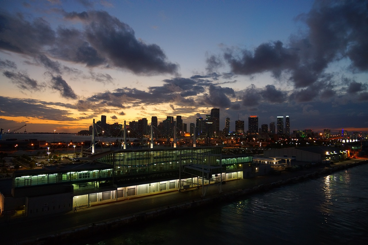Photo of the Port of Miami at sunset